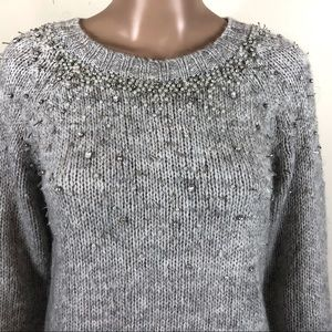 SUPERDRY London embellished gray pullover sweater